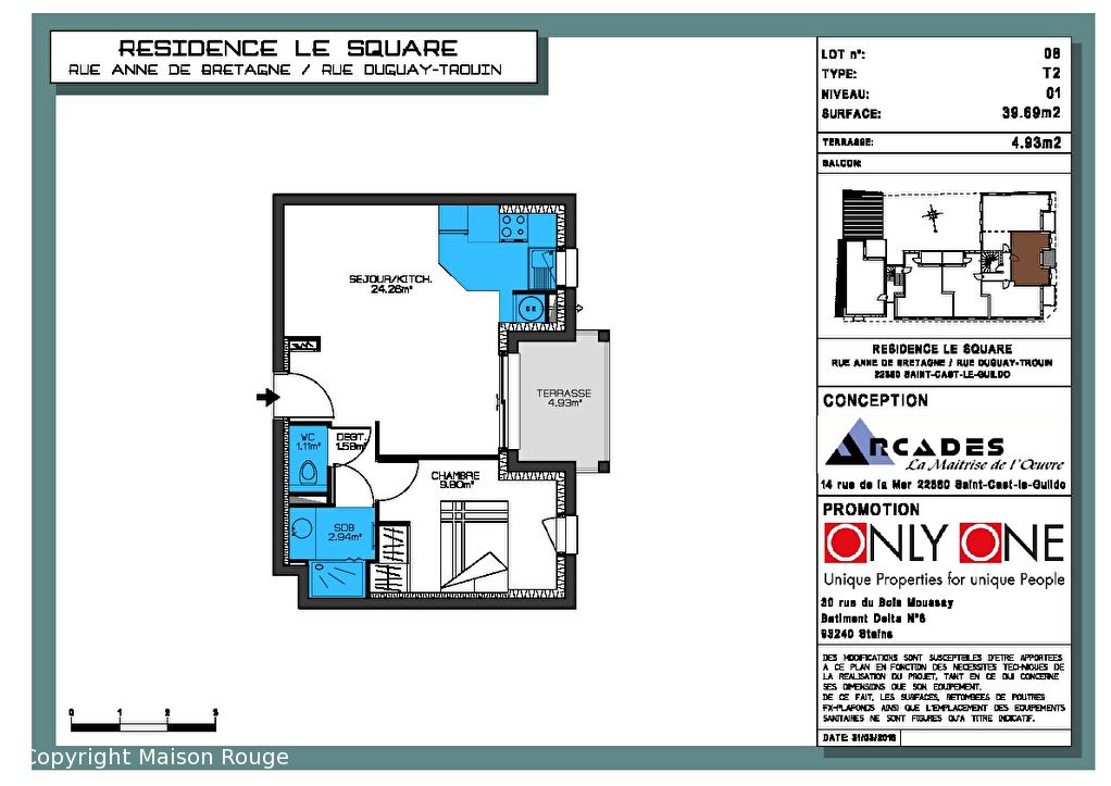 Appartement  Neuf 2 pièce(s) 39.69 m2