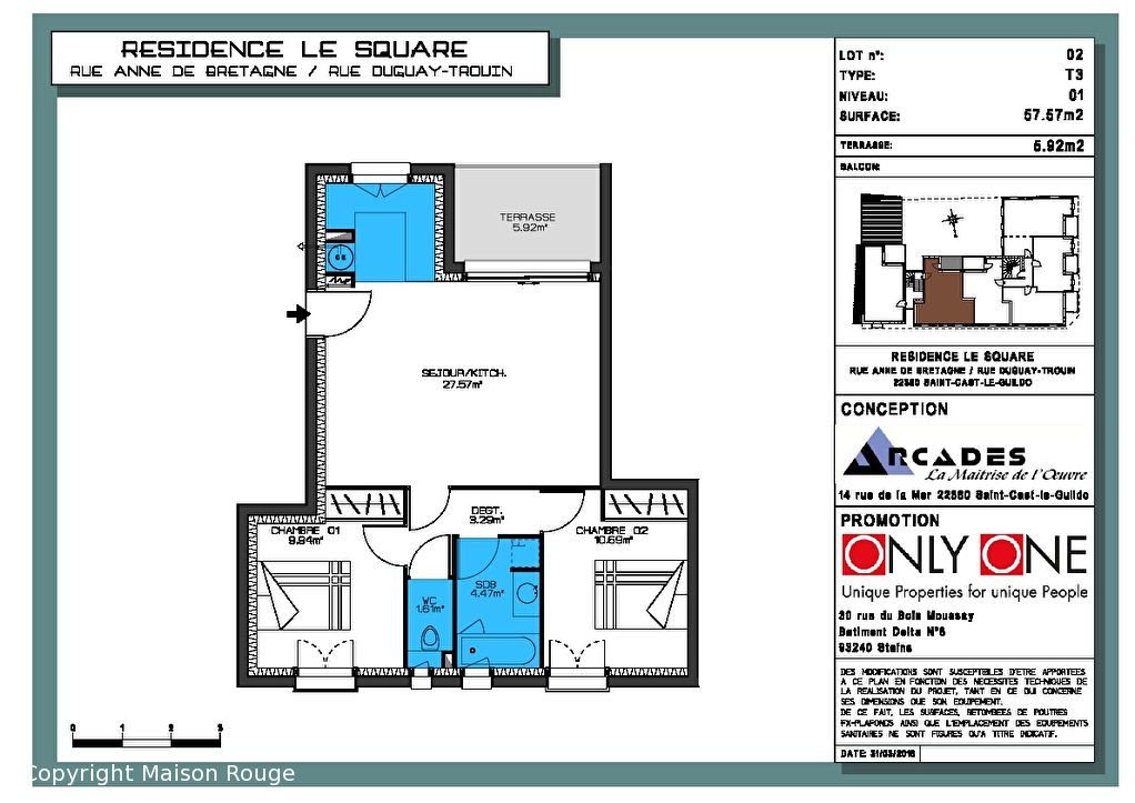 Appartement Neuf 3 pièce(s) 57.57 m2
