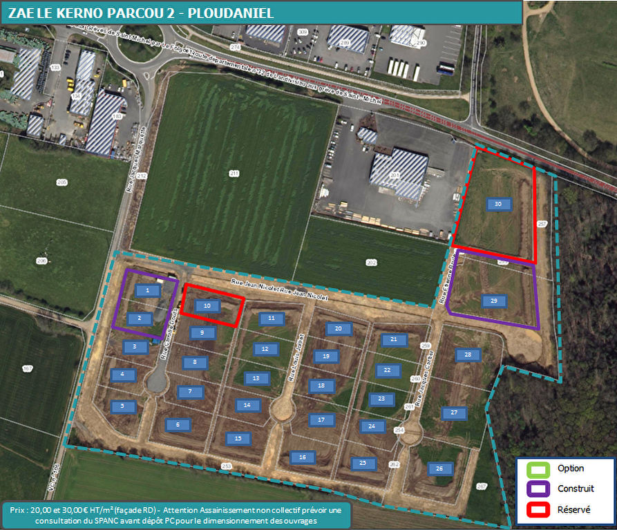 PLOUDANIEL - ZAE le Kerno Parcou (terrains à vendre)