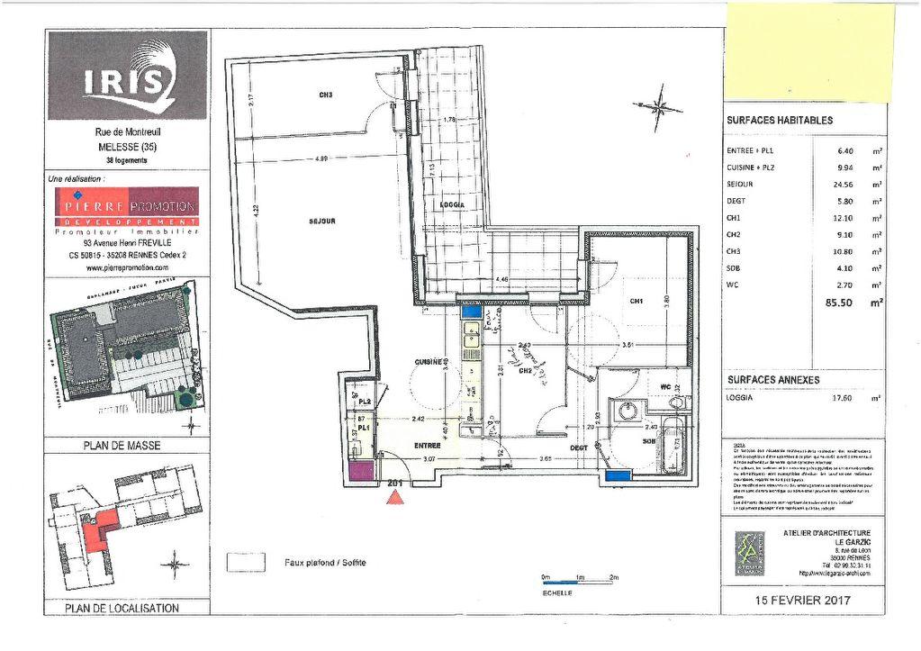 Appartement Melesse 3 pièce(s) 85.50 m2