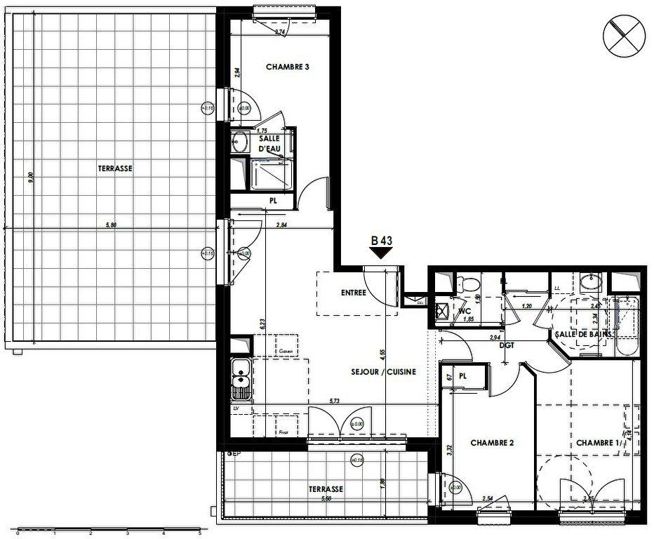 RENNES Nord-Saint-Martin - Appartement T4 de 76.23m² avec 60m² de terrasses !