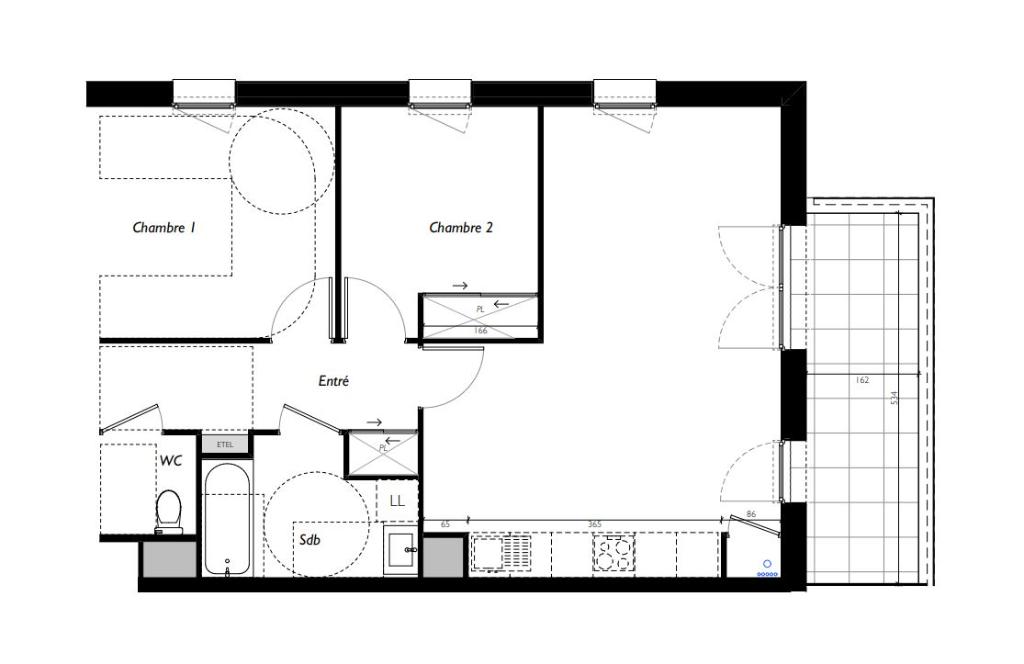 VEZIN LE COQUET - T4 de 63.39m² avec balcon de 8.64m²