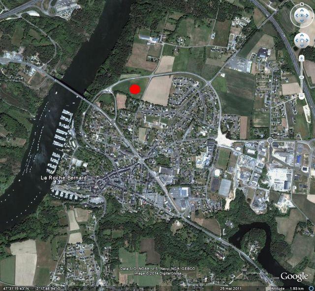 A proximité de la petite ville de LA ROCHE-BERNARD, une parcelle constructible de 1216 m² à 25 minutes de VANNES MORBIHAN SUD
