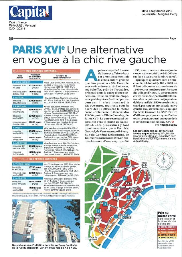 Notre agence dans Capital Spécial Immobilier : PARIS XVI - Une alternative en vogue à la chic rive gauche