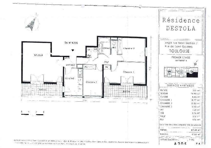 Toulouse 31100 Métro Mermoz T4 Récent de 87.49m² cuisine séparée , 2 terrasses de 9m²  , 1 parking photo 2