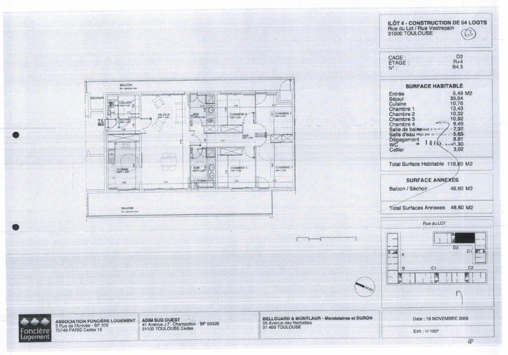 Toulouse 31100 Bagatelle hyppodrome Beau T5 de 119.60m² terrasse 48.60m² , 2 garages en sous sol , cave CHAUFFAGE ET EAU CHAUDE COMPRISES DANS LES CHARGES photo 2